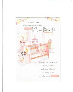 A baby girl congratulations to the proud new parents Card
