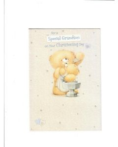 for a special grandson on your christening day Card 190mm X 130mm