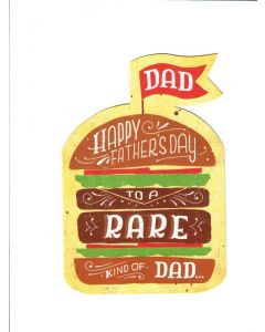 dad happy fathers day to a rare kind of dad Card 200mm X 130mm [PACK OF 6]