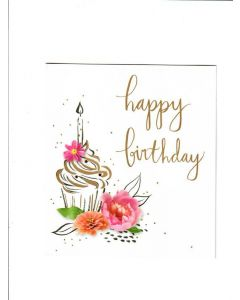 Happy Birthday Card - Cup Cake with Flower