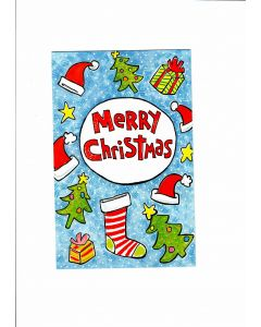 Merry Christmas Card - Hanging Stockings & Trees