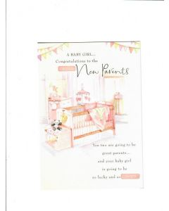 a baby girl congratulations to the proud new parents LGS1504 Card 190mm X 130mm