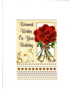 Warmest Wishes on your Birthday Card - With Roses