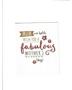 mum we both wish you a fabulous mothers day Card