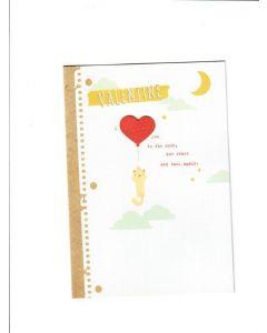 valentine I love u to the moon the stars and back again Card