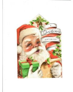 Christmas Wish Just for You Card - Santa with Gifts