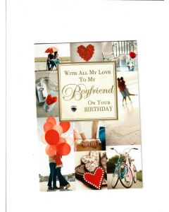 with all my love to my Boyfriend on your birthday Card 190mm X 130mm