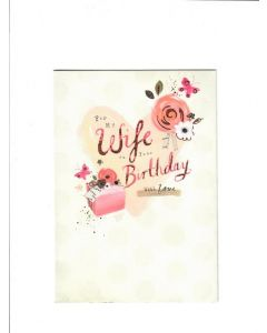 for my wife on your birthday with love Card 190mm X 130mm[PACK OF 6]