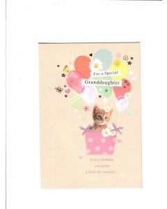 for a special granddaughter every birthday you grow a little bit sweeter Card