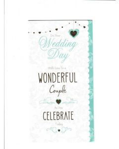 on your wedding day with love to a wonderful couple as you celebrate today Card