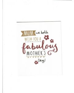 mum we both wish you a fabulous mothers day LGS2006 Card 155mm X 125mm