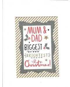 mum&Dad Biggest Brightest christmas LGS2042 Card 190mm X 130mm