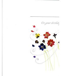 On Your Birthday Card - Colourful Flowers