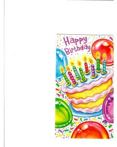 Happy Birthday Card - With Balloons and Cake
