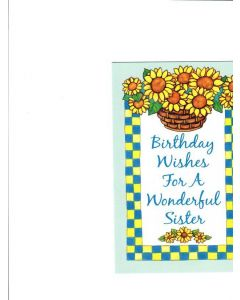Borthday Wishes for A Wonderful Sister Card