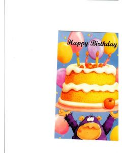 Happy Birthday Card - Cake and Balloons