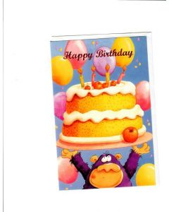 Happy Birthday Card - Birthday Cake & Balloons