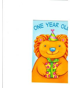 One Year Old Card - Teddy with Gift