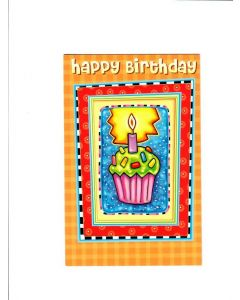 Happy Birthday Card - Cupcake with Candle
