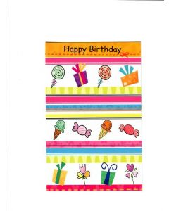 Happy Birthday Card - Candy With Gift