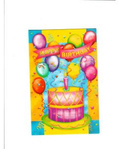Happy Birthday Card - Cake with Balloons