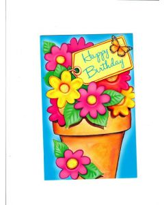 Happy Birthday Card - With Flowers