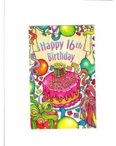 Happy Birthday Card - 16th Birthday