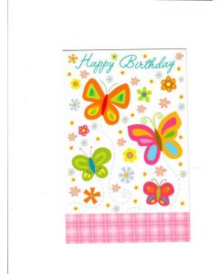 Happy Birthday Card - Butterflies and Flowers