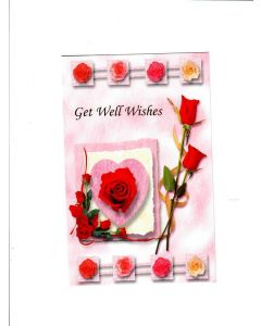 Get Well Wishes Card - Red Roses