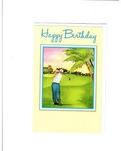 Happy Birthday Card - A man Playing Golf