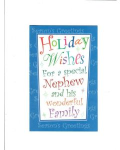 holiday Wishes for avery special nephew and his wonderful family Card